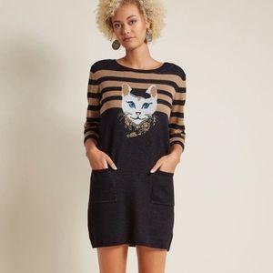 NWT ModCloth cat feline well styled sweater dress